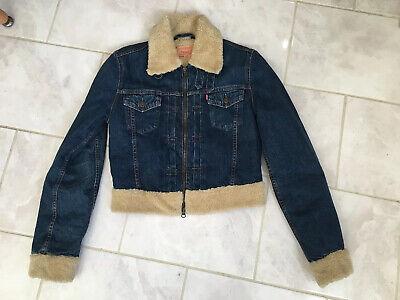 Levi Strauss 73696 Fleece Fur Lined Denim Jacket Dark Blue Levi's Ladies Small