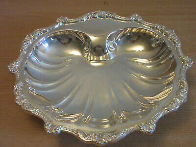 scallop seashell and scroll motif  7 x 5 inches Fancy vintage silverplate small dish