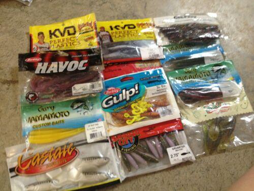 Large Lot of 11 Assorted Packs of Soft Fishing Lures Baits Soft Plastics