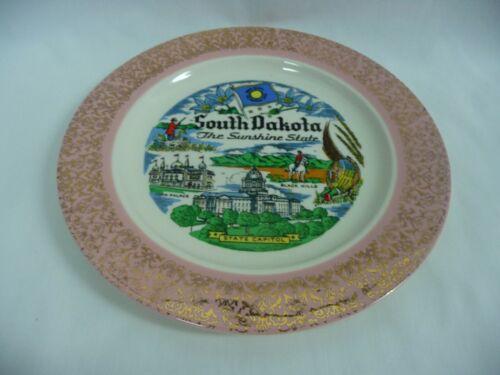 "Homer Laughlin South Dakota Collector Souvenir 10"" Plate With Gold Filigree"