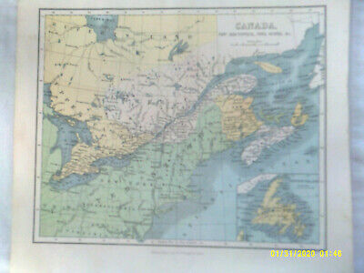 Antique Map. CANADA, NEW BRUNSWICK, NOVA SCOTIA &c. J. Bartholomew. Undated. VG.