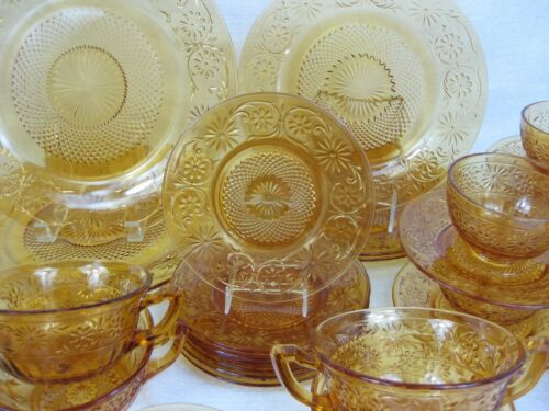 Vintage Indiana Glass AMBER DAISY Dinnerware - 34 pcs.