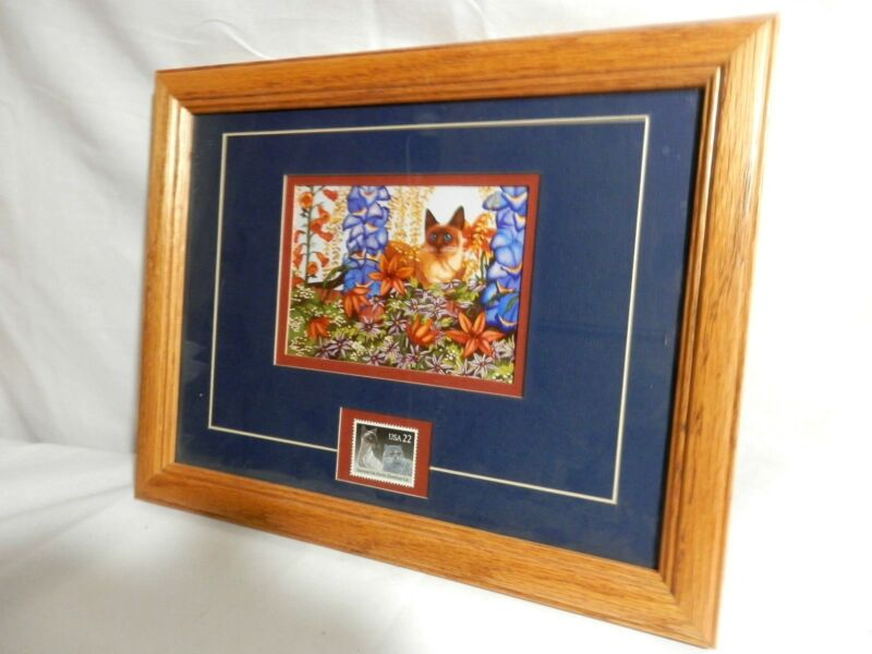 Siamese Cat Art Print with 32¢ U.S. Postal Stamp - Matted and Framed