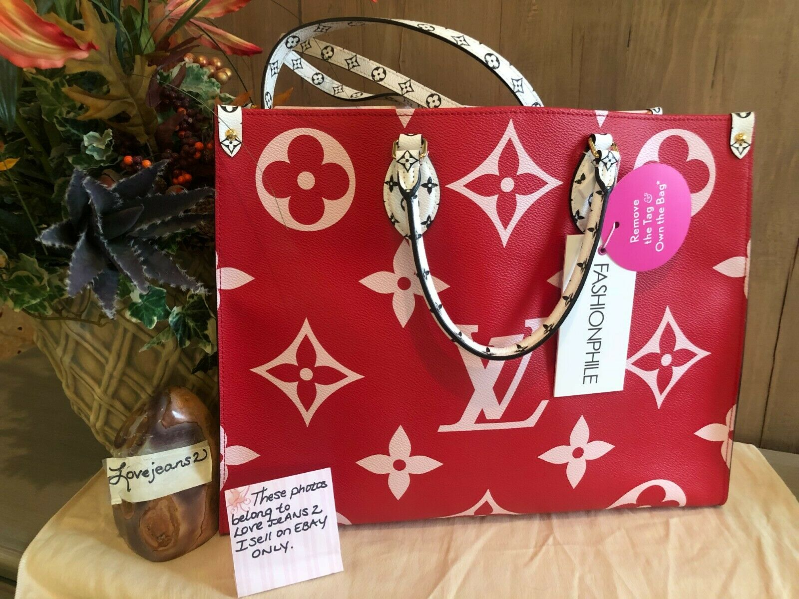 NEW Louis Vuitton ONTHEGO Tote Giant Red Monogram bag 2019 ON THE GO Shoulder