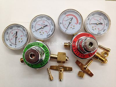 Acetylene Oxygen Set Of 2 Torch Regulators For Brazingweldingcuttingbrass