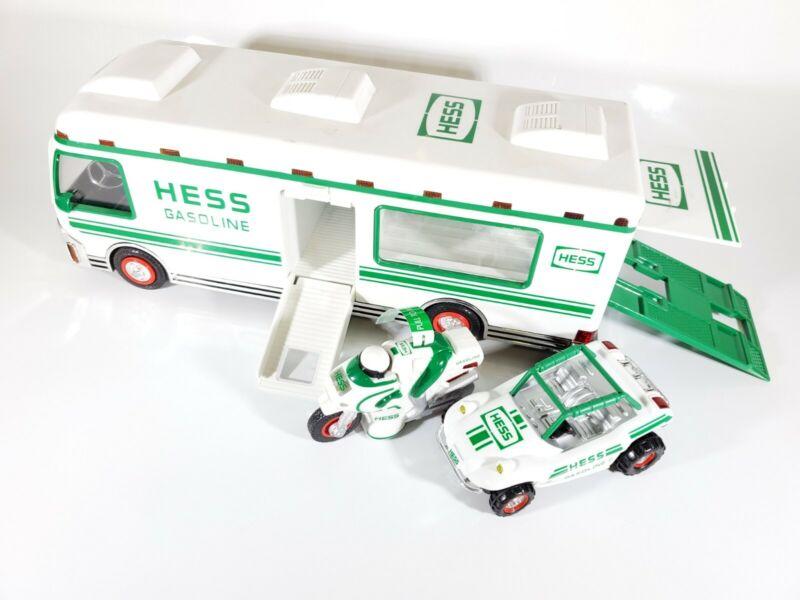 1998 Hess Truck Recreation Van RV Toy Hauler w/ Dune Buggy & Motorcycle  No Box