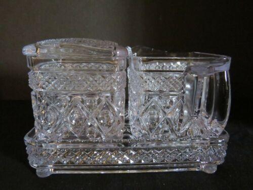 Imperial Crystal Cape Cod Square Creamer Sugar w/lid, Tray (4 pieces)
