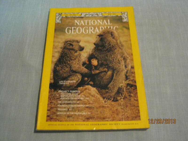 NATIONAL GEOGRAPHIC May 1975 BABOON TROOP LIFE Adirondacks NAZCA LINES Provence