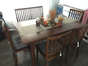 Dining table, four chairs and one bench