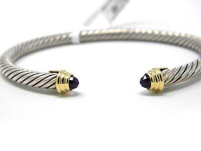 David Yurman Kids February Birthstone Cuff Bracelet Amethyst Silver/Gold NWT