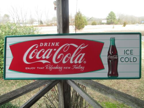 """Coca-Cola Tall 53"""" Embossed Steel Sign Horizontal Arciform Fishtail Ice Cold"""