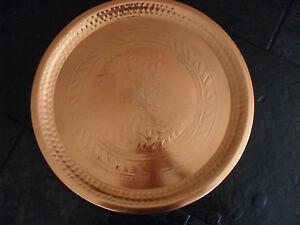 Tablett Teller Kupfer mit Gravur 48cm