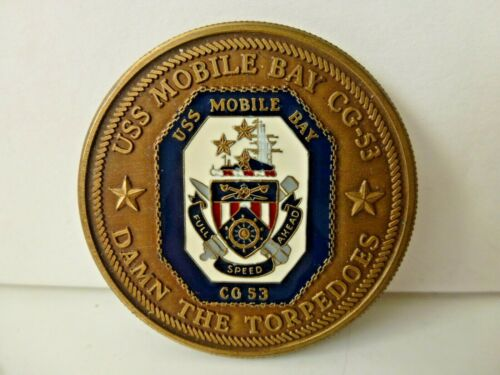 USS Mobile Bay CG-53 Brass & Enamel Token Freedom Flagship