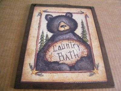 Bear primitive COUNTRY Bathroom Outhouse wooden powder room Art Decor Sign 9x11""