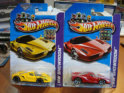 2 Hot Wheels HW Showroom Enzo Ferrari Red & Yellow on Factory Sealed cards