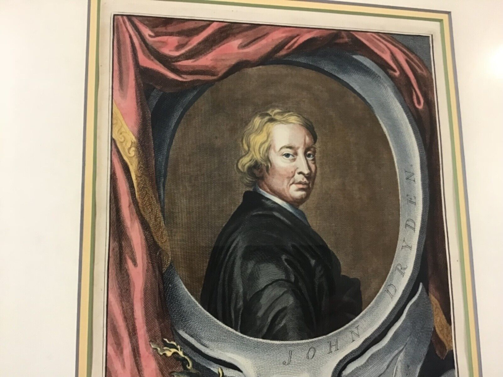Handcolored 1743 Engraving Of John Dryden Engraved By Jacobus Houbraken