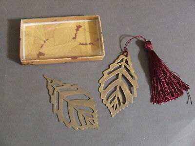 SET OF 2 KATE ASPEN TURNING LEAVES METAL LEAF BOOKMARKS IN BOX