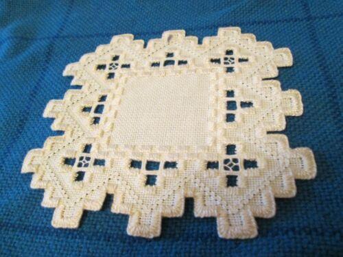 Hardanger  Doily Norwegian Embroidery  Hand Made Ivory