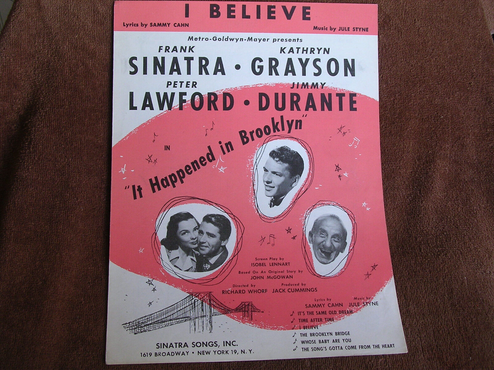 From it happened in brooklyn cahn styne frank sinatra cover photo 1947