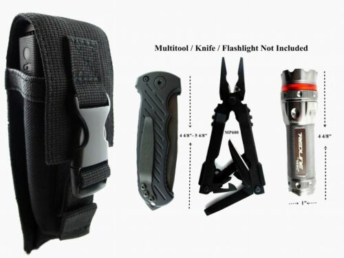 Multi Tool 800 Folding Knife,Flashlight Adjustable Pouch Sheath BLK Buck, Gerber