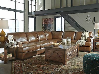 DUNCAN 3pcs Brown Leather Living Room Furniture Large Sofa Couch Sectional Set