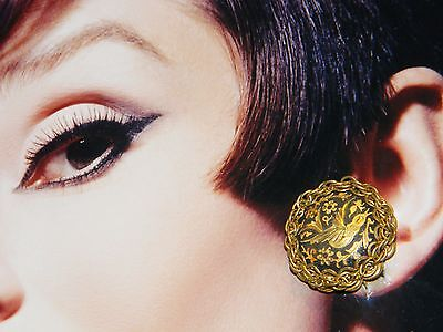 SIGNED MIRIAM HASKELL BIG BLACK RUSSIAN GOLD DAMASCENE BIRD FLORAL VTG. EARRINGS