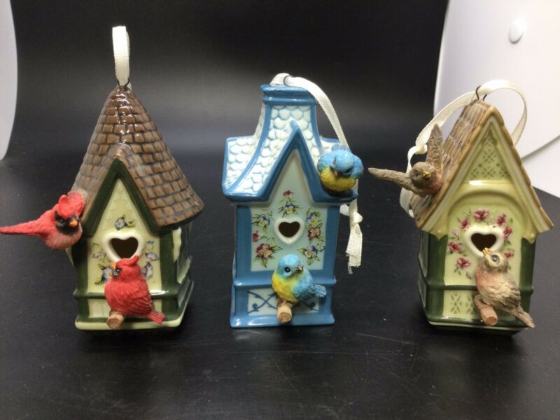 "Set of 3 Victorian Miniature Porcelain Birdhouse Ornaments 3"" Tall"