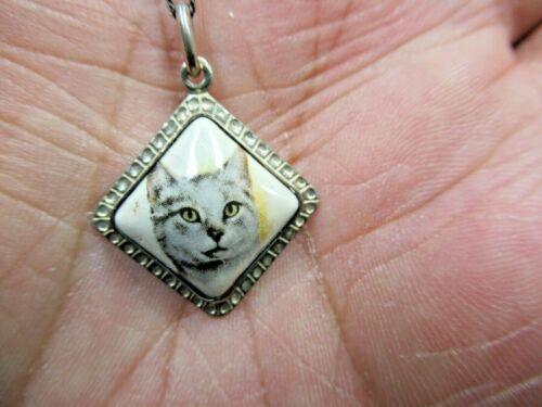 "Vintage Dutch 835 Silver Porcelain Tabby Cat Pendant & 16"" 835 Silver Box Chain"
