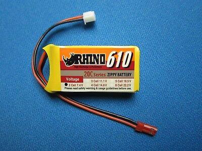 7.4v Lipo Battery Mini (ZIPPY RHINO 610mAh 2S 7.4V 20C LIPO BATTERY JST MINI RC PLANE QUAD CAR 600mAh  )