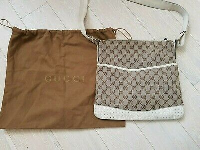 VINTAGE GUCCI CREAM & BEIGE BROWN MONOGRAM GG MEDIUM CROSSBODY MESSENGER BAG