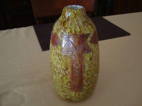 "Exquisite Legras Art Deco Decorated Glass Vase 10"" France"