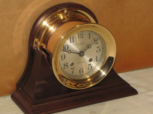 CHELSEA ANTIQUE SHIPS BELL CLOCK~4 1/2 IN DIAL~1912~RED BRASS~RESTORED
