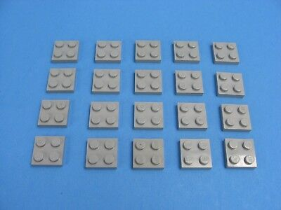 20x Vintage LEGO Old Light Gray Plate 2x2 Classic Space Castle Star Wars #3022
