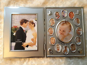 wedding & baby first year family photo frame combo silver for both boys & girls