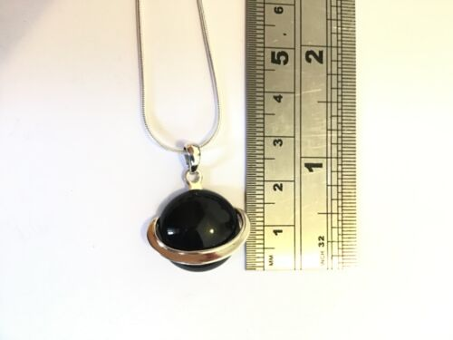 Sterling Silver round chunky Black Onyx Saturn Planet Pendant & chain Necklace