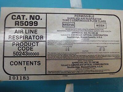 A-o Air Line Supplied Half Face Respirator New Nib W 50 Of 300 Psi Hose