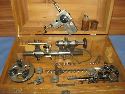altes Uhrmacher Werkzeug, Boley Uhrmacher Drehbank 8 mm mit Zubehör,