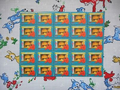 Unused vintage 40's USA Christmas charity postage stamps, little boy, fireplace