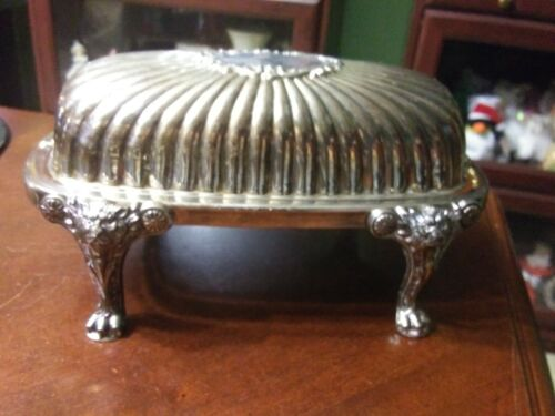 Silver Plated Lion Head Footed Hinged Butter Dish with Glass Insert