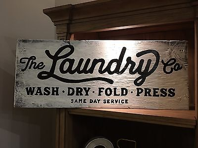 Laundry Room Rustic Distressed Wood Sign  Vintage  Hgtv  Wash  Dry  Fold  Press