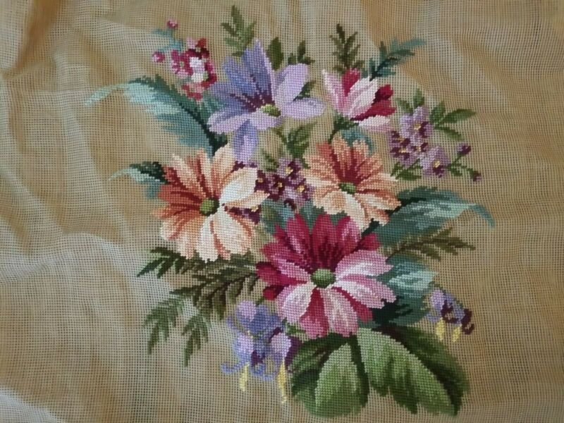 Vintage Needlepoint Tapestry Canvas Floral Pillow Chair Incomplete 26 x 26