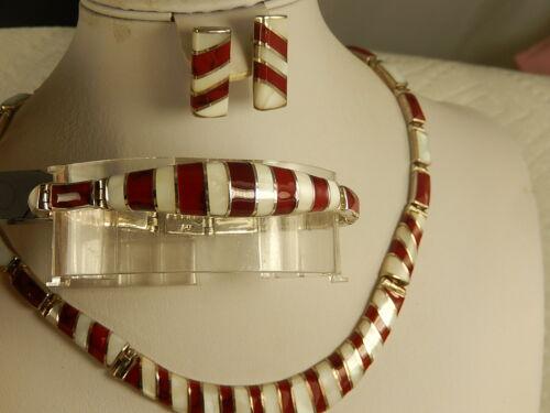 MEXICO 950 Sterling RED JASPER NECKLACE BRACELET EARRINGS Set MOP Artisan Heavy