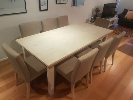 Dining Table And 8 Chairs Beautiful Wooden Set