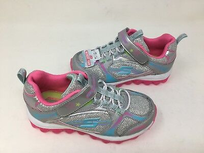 New! Skechers Youth Girls SKECH AIR Walking Shoes Silver/Pink/Blue #80257 19Q4 t](Pink Girls Shoes)