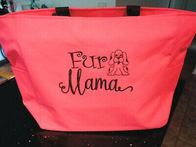1 Tote Bag FUR MAMA Gift dog cat PUP pet FRIEND VET PUPPY ANIMAL ZIPPER ZIP (Friend Pets Tote Bag)