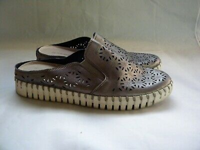 Ilse Jacobsen Tulip Silver Slides Mules Slip On Perforated Flats Sz EU 42 US 11