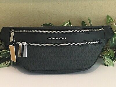 MICHAEL KORS KENLY MEDIUM WAIST FANNY PACK BLACK MK SIGNATURE BELT BAG $298 Black Leather Belt Bag