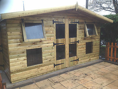 14'x10' Tanalised 19mm t&g Loglap Summerhouse reverse apex+18