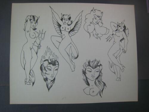 LOT OF 2 Vintage Pin-up girls,Doc Price Tattoo Flash ....  11