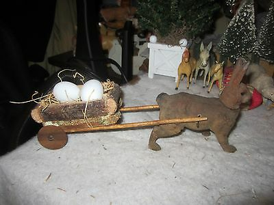 Antique Early Paper Mache Flocked Rabbit Candy Container w/Log & Loofa Cart